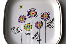 PAINTED PLATES & STUFF / Designs on ceramic and metal cups, plates and pots made with felt markers and paint.