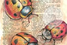 BOOK ART / Words and depictions on dictionary pages. Really wonderful illustrations.