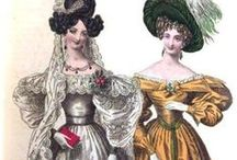 1830s - Peak of Romanticism in Fashion / Fashion plates, dresses, accessories, bonnets... everything from the 1830s fashion