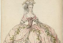 La Mode 1770s & 1780s  / Fashion plates from 1770s and 1780s with focus on french fashion.