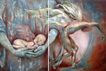Religious painting / Religious, Angels and Guadalupe Virgin oil and encaustic paintings by Karina Llergo Salto art work