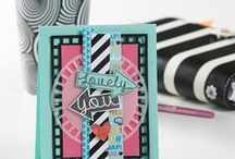 FSJ Collection: Project Me / Sharing inspiration using  the Fun Stampers Journey Project Me Collection from the 2017-2018 Inspiration Book & Catalog | black and white with a pop of bold colors | inspiring sentiments |