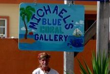 Belize - husband's gallery / Sadly, my husband passed away, June 2015. The gallery is closed, but I keep his spirit alive through his remaining art and jewelry. Michael's Blue Coral Gallery was a lovely little shop on the island of Caye Caulker, Belize.  Michael L. S. Grimes was the owner and artist. He & I took the giant leap into our Dream and made Caye Caulker our home in 2012. . #Art #artist #tropical #Belize #CaribbeanArt #Caribbean #tropicalart #MichaelsBlueCoralGallery