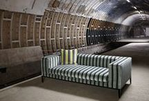 Underground / Kirkby Design have collaborated with Transport for London (TfL) to recreate five iconic moquette fabric designs taken from the London Transport Museum's archive to be re-worked into a collection of contemporary viscose velvets.