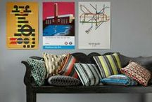 Underground Cushions / An exclusive collection of ready-made cushions featuring the Underground velvets. Kirkby Design collaborated with Transport for London (TfL) to recreate five iconic moquette designs reproduced in viscose velvets, taken from the London Transport Museum's archive.
