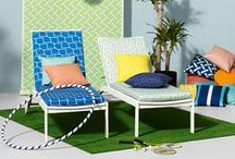 Terrazzo Outdoor Prints & Plains / A bold collection of graphic outdoor prints featuring five eye catching designs in a vibrant and playful colour palette. Designs include Brick, a large scale geometric reminiscent of a computerised brick wall, Basket, an over-sized, simplified basket weave effect and Point, a graphic chevron design. Terrazzo, after which the collection is named, is an intricate mosaic design inspired by Terrazzo stone flooring whilst Deck, is a contemporary take on a classic deck chair block stripe.