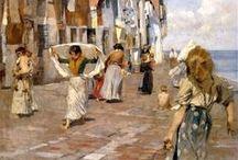 Pittori a Chioggia / Riproduzione di quadri con soggetto Chioggia