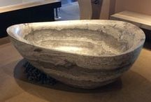 Stone Works / We've put together some gorgeous displays in our showroom centered around natural stone counterops and sinks.
