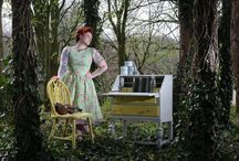 Vintage with Grace painted furniture and prop hire photo shoot / Woodland prop photo shoot