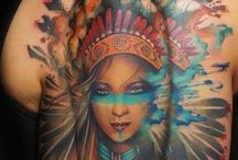 Native American tattoos / #native #american #indian #warrior #girl #watercolor #art #color #paint #splash