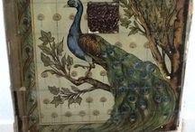 Pauw Peacock Paon Pfau / Pauw op tegels en tegeltableaus