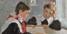 Пионеры и школьники. Открытки и  живопись. / Pioneers and schoolchildren. Postcards and painting.