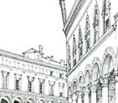 Urban sketches / Quick and minimalistic city sketches in pencil, pen and watercolor - urban sketches, cityscapes, architectural drawings, drawing journal.