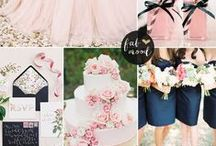 Blush Theme Wedding Rose Petals & Ideas / View all our colors of silk rose petals and our pins that will blend nice with your blush pink and navy blue wedding theme