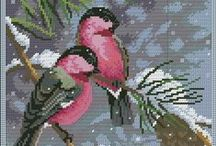 Cross stich animals, birds