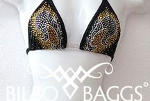 BILBO: Bikinis / Competition bikinis: Swarovski crystals, rhinestones, custom fit, designer.
