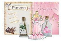 Uitnodiging kinderfeestjes / Piratenfeestje, Piet Piraat, Prinsessenfeestje. Begin je feest met een super gaaf begin. Je eigen unieke #flessenpost uitnodiging. Alle materialen om het zelf te maken maar je kan het ook uitbesteden.