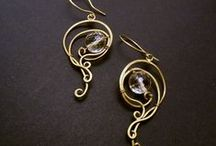 My brass jewelry / Hand made, wire-wrapping jewelry. Silver and brass.