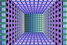 """Op Art / Optical Art (1950's to 1960's) - A mathematically-themed form of Abstract art, which uses repetition of simple forms and colors to create vibrating effects, moiré patterns, foreground-background confusion, an exaggerated sense of depth, and other visual effects. With Optical Art, the rules that the viewer's eye uses to try to make sense of a visual image are themselves the """"subject"""" of the artwork. Victor Vasarely, Josef Albers and M.C. Escher experimented with Optical Art."""