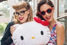 """Hello Kitty """"All My Favorite Things"""" Collection / Did you know the first item ever created featuring Hello Kitty was a kiss-lock coin purse? That coin purse in addition to other retro Hello Kitty collectibles are featured on the """"All My Favorite Things"""" collection from JapanLA Clothing! Choose from over-sized jumper, skater dress, or kimono top!  Models: Isabella & Cristy/Photographer: Sylvia G/Make-Up: Erin N/Hair: Alex T/Stylist: stephieebeast/Videographer: Jessica C/Assistant: Geeky Glamorous/Shoes: Y.R.U."""