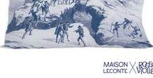 """Maison Leconte X Roger-Viollet / Quand Roger Viollet ouvre ses fabuleuses archives à Maison Leconte, 2 mini-séries de transats & coussins voient le jour ! """"Sport d'hiver"""" interprète en couleur et malice d'anciens clichés sur le thème de la haute montagne."""