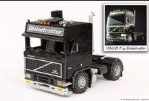 """BLACK LABEL: VOLVO F16 GLOBETROTTER 1:13 SCALE LEGO® MODEL / As for the first SCANIA I built, for the VOLVO F12 too I could't resist to give it a """"brother"""". So copying the chassis, the engine and the whole ratio of the F12, I started building the VOLVO F16 Globetrotter. The F16 is the second upgrade of F10/F12 series that comes in 1987."""