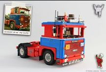 """SCANIA LB 141 """"PAT DUFFY"""" 1:13 SCALE LEGO® MODEL / Once finished the 1/13 scale SCANIA LB 140 (the yellow and blue one) as usual I decided to start designing a """"brother"""" with a different motorization and a new colour scheme. In October 2012 I found in a forum for English truckers a great SCANIA LB 141 with a very fascinating colour scheme; after reading a lot of posts I discovered it was the 141 used in the seventies by an English hauler located on the Hampshire called """"Pat Duffy"""" (Patrick J Duffy Transport). This is my LEGO version."""