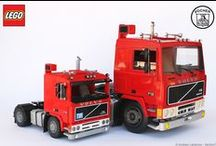 VOLVO F12 - 1/13 LEGO Vs 1/8 POCHER / I do have the pleasure to show you the 1/13 LEGO model side by side with the 1/8 POCHER model. I enjoyed photographing the two models together. When people see my 1/13 LEGO model they are surprised by the sizes, but when they see the 1/8 Pocher model they can't believe their eyes. It's really huge!