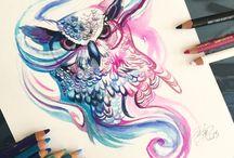 Art - illustration / Digital art, paintings, drawings, sketches and tutorials