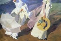 Juaquin Sorolla / Joaquín Sorolla y Bastida (Valencia, 27 de febrero de 1863 - Cercedilla, provincia de Madrid, 10 de agosto de 1923) fue un pintor y artista gráfico español. Fue uno de los pintores españoles más prolíficos, con más de 2.200 obras catalogadas. Etiquetado a veces como impresionista, en realidad su estilo maduro se define mejor como luminista.    Compartió estudio en la planta baja de la calle Las Avellanas nº 12 (Valencia) con José Vilar y Torres, Benlliure y Pinazo. / by Juana Martín