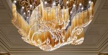 Glamour, luxury, sparkles / Beautiful examples of rich interiors with glamourous  luminaries