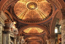 Ceilings~ / A ceiling is an overhead interior surface that covers the upper limit of a room. It is generally a finished surface concealing the underside of the roof structure above.  Ceilings have frequently been decorated with fresco painting, mosaic tiles and other surface treatments. While hard to execute (at least in place) a decorated ceiling is protected from damage by fingers and dust.  Many historic buildings have celebrated ceilings. The most famous is the Sistine Chapel ceiling by Michelangelo.  / by Paula Tramonte