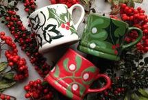 Christmas / Hand painted Christmas ceramics for breakfast, lunch, tea, dinner, bedtime and for Father Christmas.  There are three designs which complement one another, there are exciting possibilities for you to create collections of different items either in the same design or by mixing them.