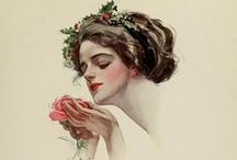 Victorian Beauty by Harrison FISHER / Best known for his illustrations of beautiful women, Harrison Fisher (1877-1934) was the son of landscape painter Hugo Anton Fisher.