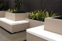 Retaining Walls & Benches / A collection of ideas for retaining ground levels and gardens. The builtin benches are a perfect way of creating seating space along those walls.