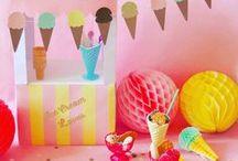 Ice Cream Party - Glaces / Des glaces sous toutes ses formes : en cônes, à l'italienne, version esquimau... réelles ou en papier.