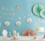 Mermaid party - Anniversaire Sirène / Idées décoration et pâtisserie pour un anniversaire sur le thème  des sirènes et leur univers aquatique : étoiles de mer, coquillages, crustacés, sable, mer, perles etc...