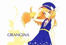 Orangina-tan   (drinks, personification) / Orangina is a carbonated citrus beverage made from orange, lemon, mandarin, and grapefruit juices.