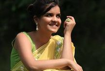 Pastel Yellow Pure Georgette Buttercup Ribbon-work Saree / Presenting the White Buttercup. We love how the model styles it simply with pearl drop earrings, the 60s flower ring and beautiful messy updo. Her smile makes it all the more beautiful. Please visit www.eastandgrace.com and subscribe to our newsletter to find out when White Buttercup will be available for purchase and other awesome things!