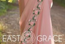 Baby Pink Rose Pure Chiffon Ribbon-Work Saree / A beautiful bouquet of fragrant, pink roses. A royal pure chiffon touch. A whimsical romantic drape. It starts to feel like a poem. Here's more on E&G's Rose design.