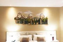 Cabeceros mural Madrid / Decoración de las habitaciones del hotel Mayorazgo en Madrid.  Cada habitación se ha tematizado con algún elemento carazterístico de la cultura, la historia o la arquitectura de la capital.  Garabato Mural, se ha encargado de pintar cada uno de los murales que decoran las habitaciones de este castizo Hotel.