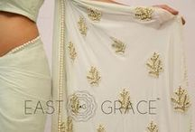 Pearl Embellished Icy Mint Pure Chiffon Saree / Classy girls wear pearls. We took it to a higher level and embedded them with touch, love, and care on the serene Pearl & Icy Mint Saree that's made with sheer yet royal pure silk chiffon. This saree will help you stun with a little laid-back glamour and complement your simplicity with ease. PRICE: INR 6,528.00; USD 96.00  To buy click here: https://goo.gl/sTqjeC  For order related inquiries, please reach out to us at orders@eastandgrace.com.  With love, EAST & GRACE www.eastandgrace.com