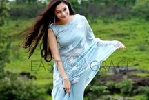 Powder Blue White Floral Pure Silk Chiffon Saree / Featuring a soft powder blue pure silk chiffon saree with light white ribbonwork floral motifs embroidered all over it. PRICE: INR 15,499.00; USD 234.83 To buy please click here: https://www.eastandgrace.com/products/powder-blue-white For help reach us at care@eastandgrace.com. With love www.eastandgrace.com