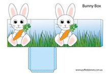 Easter / Bunnies, daffodils and Easter eggs.