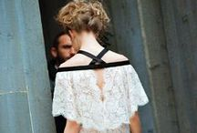 Black + White Wedding Dresses / Wedding dresses with a pop of black