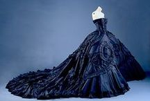 Inky Evening Gowns / Dark blue, red, black evening gowns. A little goth. Very chic.