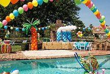 Audrey & Eva's Fruity Hawaiian Surfer Girl Birthday Pool Party Luau :)