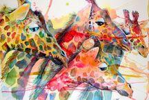 Giraffe art / I love art and giraffes so when you put them together, it's even better!!!!!