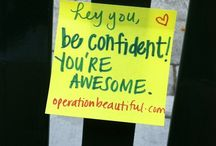 """Operation Beautiful Notes / The goal of the Operation Beautiful website is to end negative self-talk or """"Fat Talk."""" This movement involves posting positive quotes in public places!   Visit http://www.operationbeautiful.com for more info."""