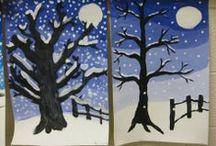 Kuvis: talvi & joulu/ Winter & christmas art lessons